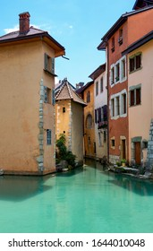 Annecy, France - June 2019: houses on the city canals