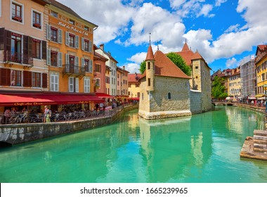 Annecy, France - June 2019: View on the castle in the old town on a sunny day