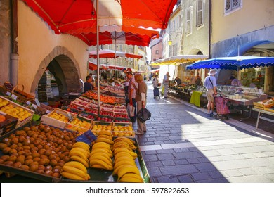 Annecy, France - June 26, 2016 : Market in Annecy