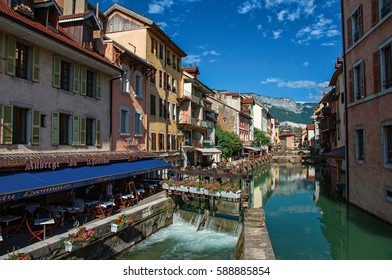 Annecy, France - June 30, 2016. Facade of old and colorful buildings facing the canal, in Annecy. An historical and lovely lakeside town located at the department of Haute-Savoie, south-eastern France
