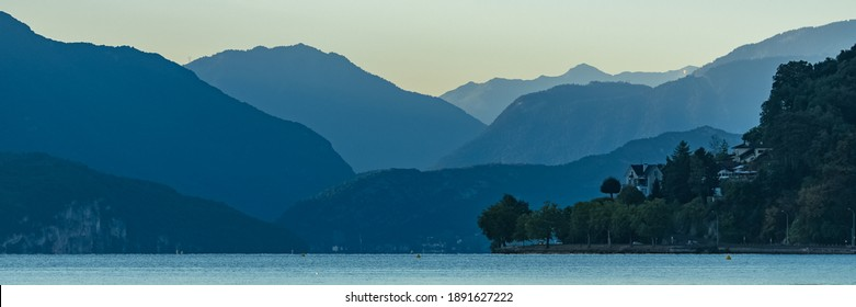 Annecy in France, the lake at sunrise in summer