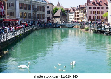 Annecy. France. Mai 2014.  Annecy the venice of alps in summer with a lot of tourist