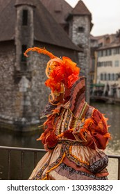 Annecy, France, March 15, 2014:  Profile of a disguised person, posing in Annecy, France, during a Venetian Carnival which celebrates the beauty of the real Venice.