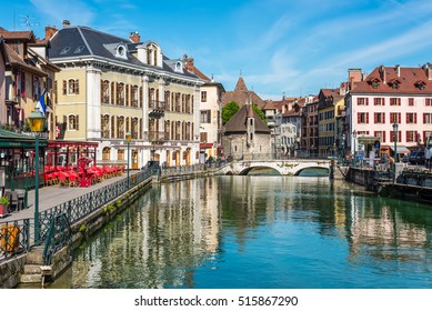 Annecy, France - May 25, 2016: View of the old city of Annecy with the Palace de l'Isle and Thiou river in Annecy, France. Annecy is a commune in the Haute Savoie department of the Rhone-Alpes region.