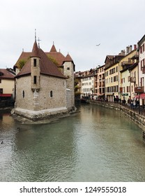 Annecy, France - November 25, 2018:  the view of Annecy old town