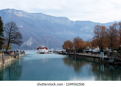 Annecy, France - November 25, 2018: Annecy lake in the French Alps