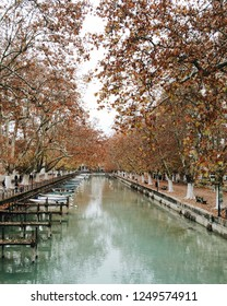 Annecy, France - November 25, 2018: the view of Canal du Vasse of Annecy in autumn