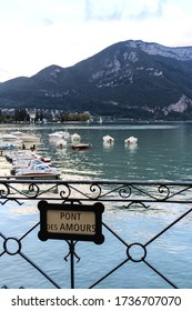 Annecy / France - October 5, 2019: Pont des Amours bridge sign. Located in the Auvergne-Rhône-Alpes region in southeastern France, Annecy is often called the Venice of the Alps