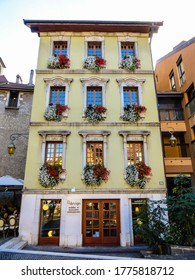 Annecy / France - October 5, 2019:  The Maison Gallo in Sainte-Claire square. In 1794, the architect Charles Gallo, refurbished and enlarged his house according to the style of Turin.