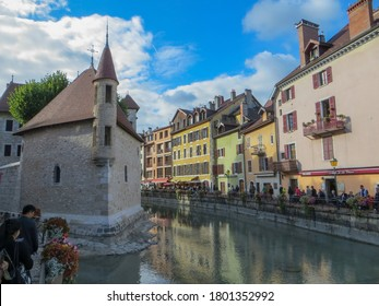 """Annecy / France - October 5, 2019: The Chapel of the Palais de l'Ile. The Palace, often described as a """"house in the shape of a ship"""" has been a prison, a courthouse and an administrative centre."""