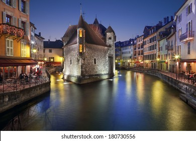 Annecy, France. The old prison in Annecy, the Palais de l'isle, at dusk.