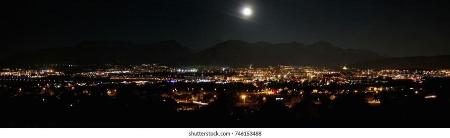 Annecy france panoramic view by night with full moon
