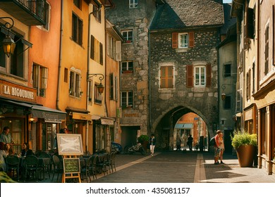 Annecy, France - September 15, 2015: View of the street in city centre of Annecy, capital of Haute Savoie province in France. Annecy is known to be called the French Venice