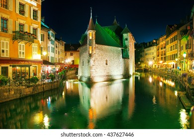 Annecy, France - September 15, 2015: Annecy. The main attraction of the city - an ancient fortress-prison on an island in the middle of the river