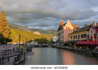 Annecy, France - September, 2015: Sunset over Old Town of Annecy. Annecy is an alpine town in southeastern France, where the River Thiou meets Lake Annecy.