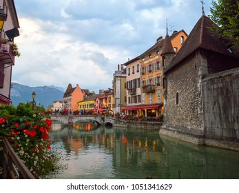 ANNECY, FRANCE - SEPTEMBER 2016:  In the streets of amazing Annecy. Annecy is the largest city of Haute Savoie department and is known to be called the French Venice