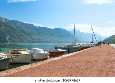 ANNECY, FRANCE - SEPTEMBER 22, 2012: Boats in Lake Annecy in France