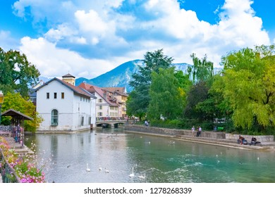 ANNECY, France - September 7 2018:  Annecy. Located in the Auvergne-Rhône-Alpes region in southeastern France, Annecy is often called the Venice of the Alps