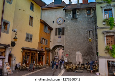 ANNECY, France - September 7 2018: Annecy Inner City. Located in the Auvergne-Rhône-Alpes region in southeastern France, Annecy is often called the Venice of the Alps
