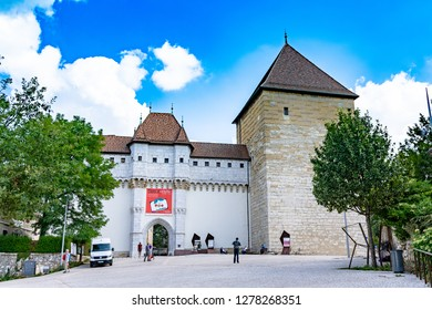 ANNECY, France - September 7 2018: Chateau d'Annecy. Located in the Auvergne-Rhône-Alpes region in southeastern France, Annecy is often called the Venice of the Alps