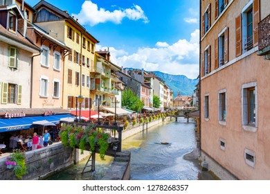 ANNECY, France - September 7 2018: Canals in Annecy. Located in the Auvergne-Rhône-Alpes region in southeastern France, Annecy is often called the Venice of the Alps