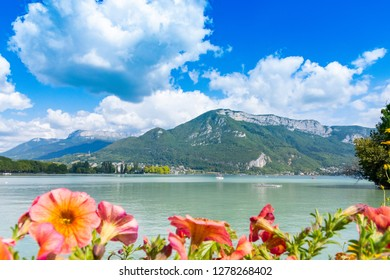 ANNECY, France - September 7 2018: Lac d'Annecy as seen from Les Jardins de l'Europe. Located in the Auvergne-Rhône-Alpes region in southeastern France, Annecy is often called the Venice of the Alps