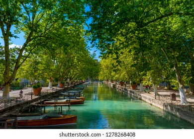 ANNECY, France - September 7 2018: Canal du Vasse as seen from Pont des Amours inland. Located in the Auvergne-Rhône-Alpes region in southeastern France, Annecy is often called the Venice of the Alps