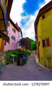 ANNECY, France - September 7 2018: Uphill pathway from the inner city to Chateau d'Annecy.