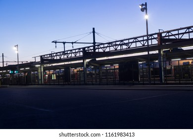 ANNECY, HAUTE SAVOIE / FRANCE August 15 2018 :  annecy station in the month of August around 9 pm, night falls and urban lights come on