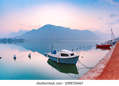 Annecy lake and Alps mountains at sunrise, France, Venice of the Alps, France