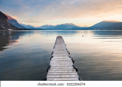 Annecy lake in French Alps at sunset. Beautiful landscape