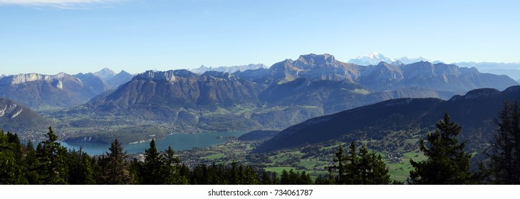 Annecy lake, Mont-Blanc, Tournette mountains landscape, from semnoz near Annecy, savoy, france