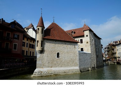 Annecy old prison, city, and Thiou canal, Savoy, France