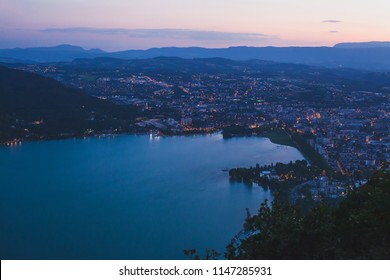 Annecy panoramic landscape, France, cityscape with night lights