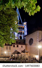 Annecy Savoy, France - August 2 2019: Cathedral of Annecy by night