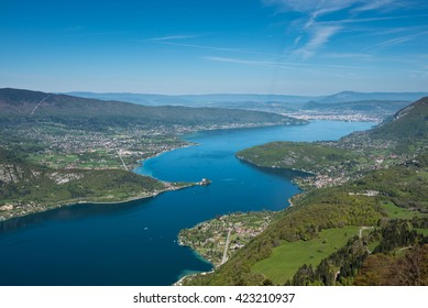 Annecy. View of the Annecy lake from Col du Forclaz