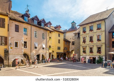 ANNECY,FRANCE - SEPTEMBER 2,2016 - Place of Georges Volland in Annecy. Annecy is the largest city of Haute Savoie department in the Auvergne Rhone Alpes region in southeastern France.