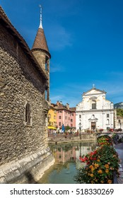 ANNECY,FRANCE - SEPTEMBER 2,2016 - View at the church of Saint Francois de Sales from Palace de Ille in Annecy. Annecy is the largest city of Haute Savoie department .