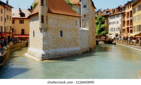 Annecy/France-05-16-2018: Cityscape with ancient prison now museum in Old Town of Annecy. France