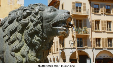 Annecy/France-05-16-2018: detail on the lion's head of the fountain in downtown Annecy, france