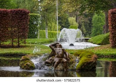 ANNEVOIE / BELGIUM - MAY 2014: Regular park (Les Jardins d'Annevoie) of the Annevoie castle, Belgium