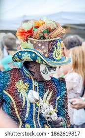 Annevoie, Belgium, May 25,2019 parade of Costume for Venice carnival in Italy.