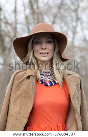Annika Gassner Pictured During Mercedes Benz Fashion Stock Photo