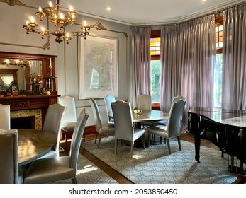 Anniston, Alabama -2021: Hotel Finial, an upscale boutique hotel in a historic Victorian style mansion. Best Western Premier Collection. Interior dining room with modern furnishings.