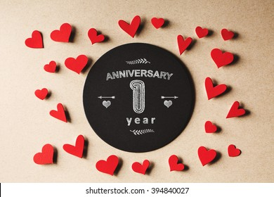 Anniversary 1 year message with handmade small paper hearts