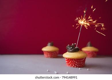 Happy Birthday Cake Cookie Burning Sparkler Stock Photo Download