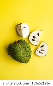 Annona Muricata or soursop, graviola and guyabano in Latin America or Durian Belanda in Malay Language, shot on isolated background