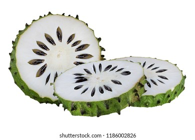 Annona muricata.oursop fruit (Sugar Apple,ustard apple) isolated on white background