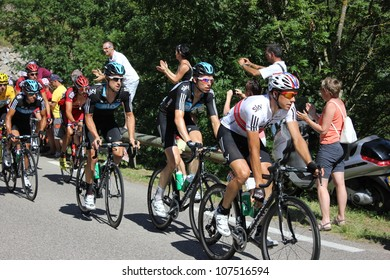 ANNONAY, FRANCE - JUL 13: Team Sky (Boassen-Hagen, Rogers, Porte) and Bradley Wiggins in stage 12 of Le Tour de France 2012. David Millar wins the race on July 13, 2012 in Annonay Ardeche, France