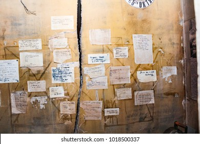 Announcements on the wall in besieged Leningrad. St. Petersburg, Russia - 7 May, 2017. Exhibition expositions of Leningrad's blockade life during the Great Patriotic War.